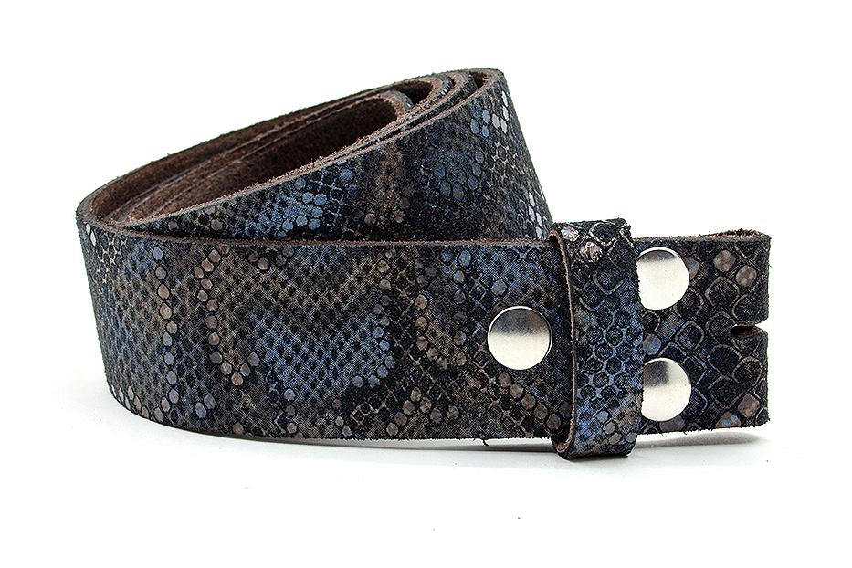 A-Zone mes riem zonder gesp zwart/blauwe croco print
