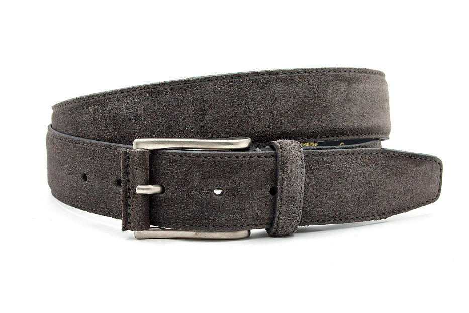 JV Belts Donker taupe suede riem