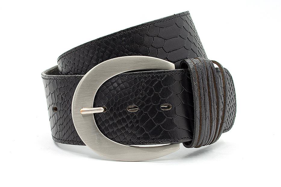 Thimbly Belts Brede heupriem zwart met croco print