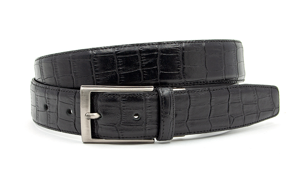 Gilmart Zwarte croco  pantalon riem