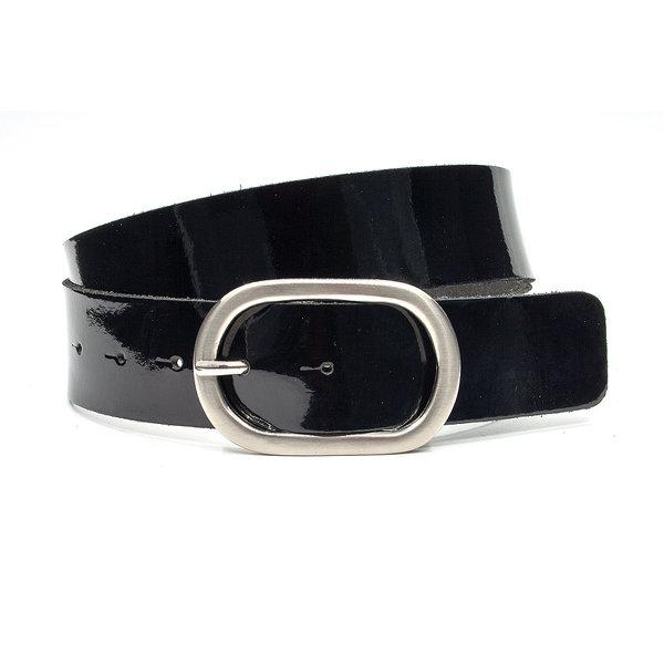 Thimbly Belts Dames riem zwart lakleder