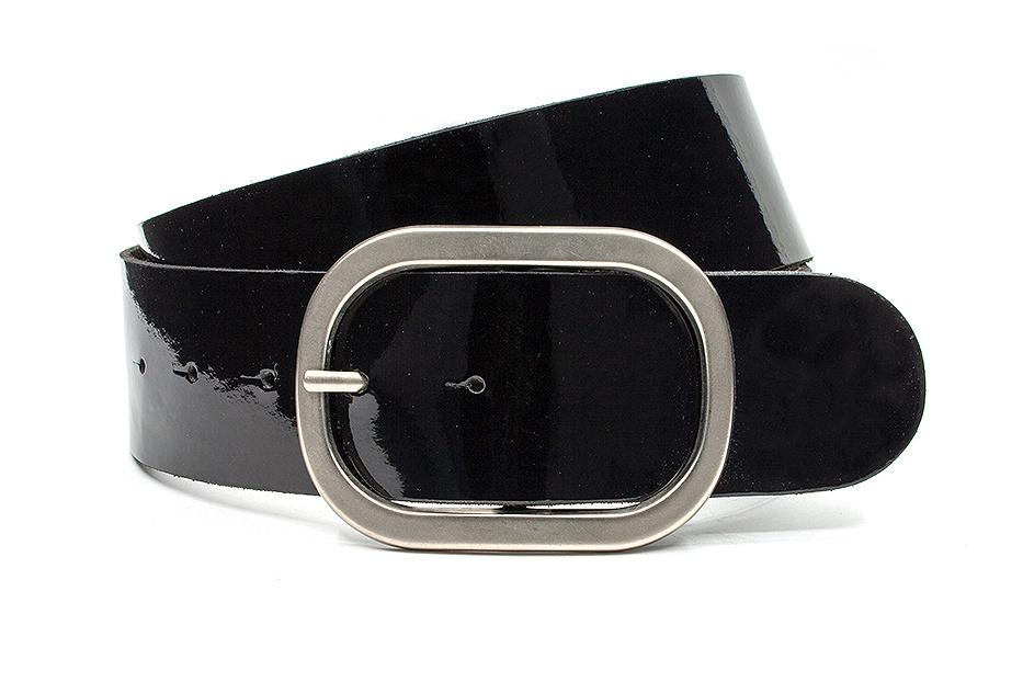 Thimbly Belts Zwart lak dames ceintuur