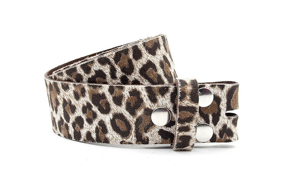 A-Zone Dames riem zonder gesp zwart/beige luipaard