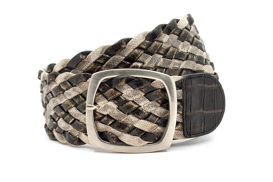 JV Belts Brons metallic kleurige vlechtriem met katoenband.