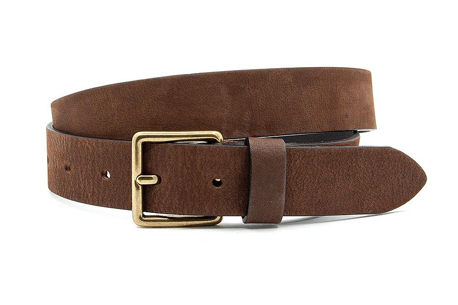 Thimbly Belts Leren kinderriem bruin met bronzen gesp