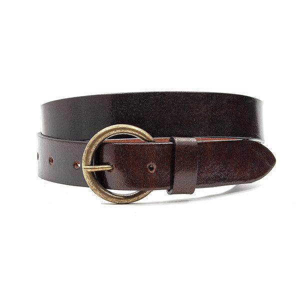 Thimbly Belts Leren kinderriem bruin glanzend