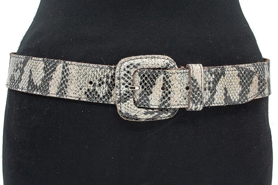 A-Zone Dames riem slangen print beige / grijs