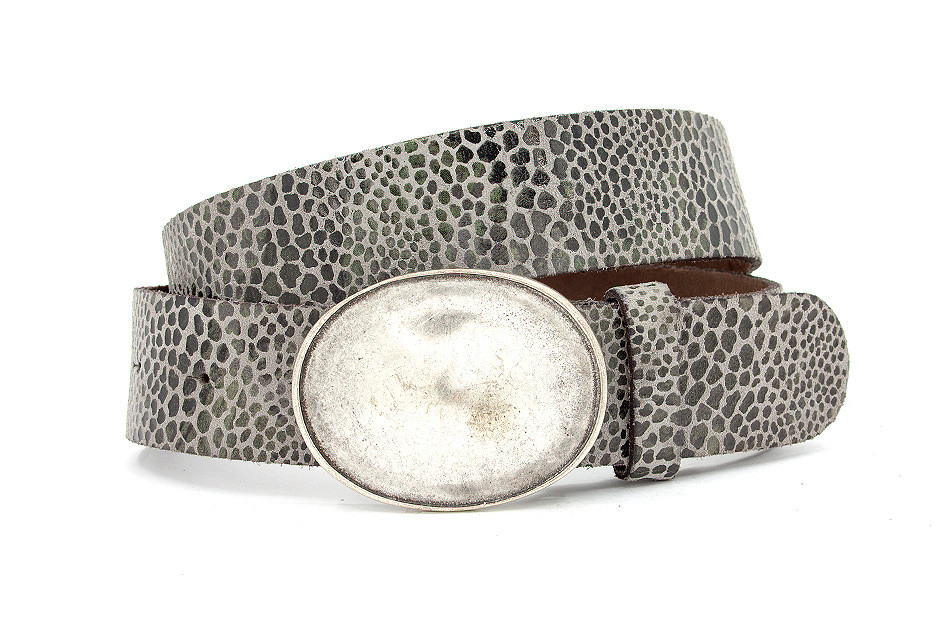 A-Zone Dames riem leopard grijs met ovale buckle