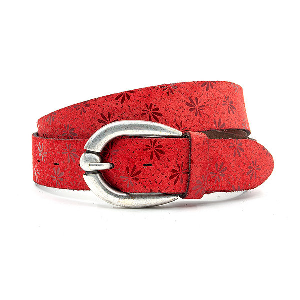 Thimbly Belts Jeansriem rood met bloemenprint