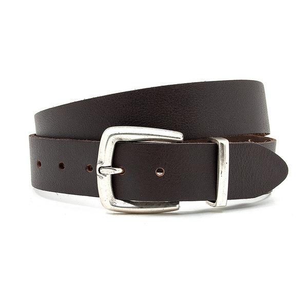 Thimbly Belts Dames jeans riem bruin met ijzeren passant