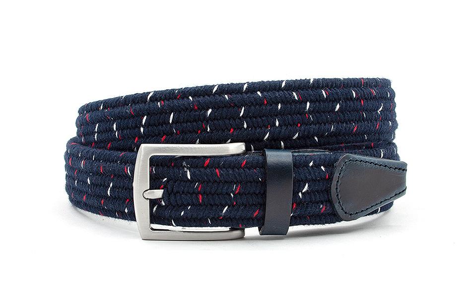 Thimbly Belts Mooie donker blauwe riem afgewerkt met leer
