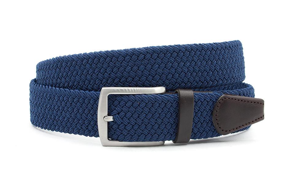Thimbly Belts Elastische jeans blauwe riem afgewerkt met leer
