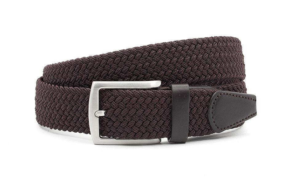 Thimbly Belts Nette bruine elastische riem afgewerkt met leer