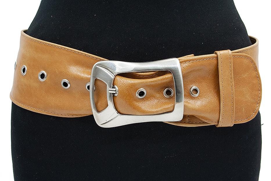 Thimbly Belts  Dames nappa leren taille/heupceintuur okergeel