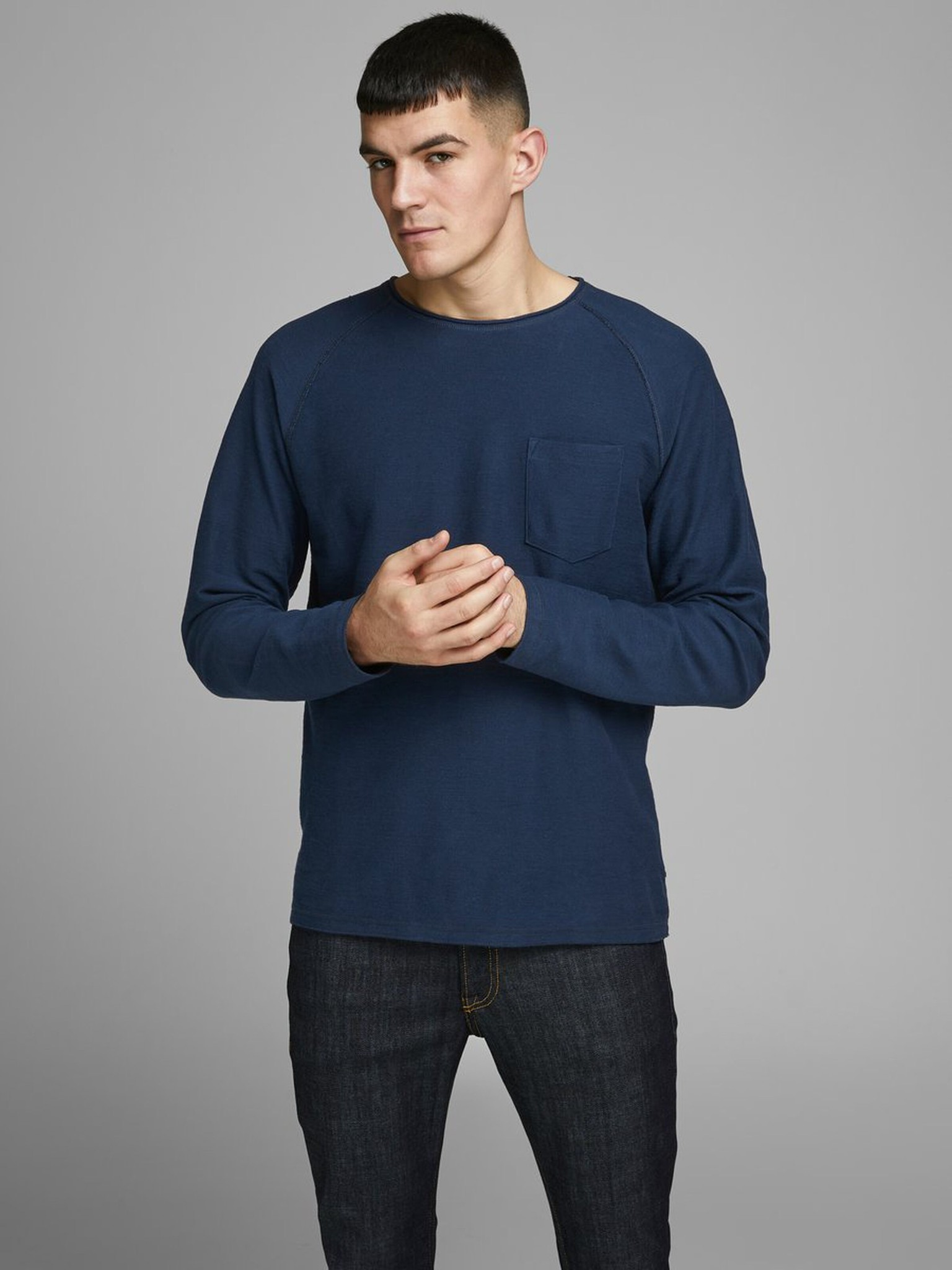 JACK & JONES col ras-du-cou sweat-shirt-1