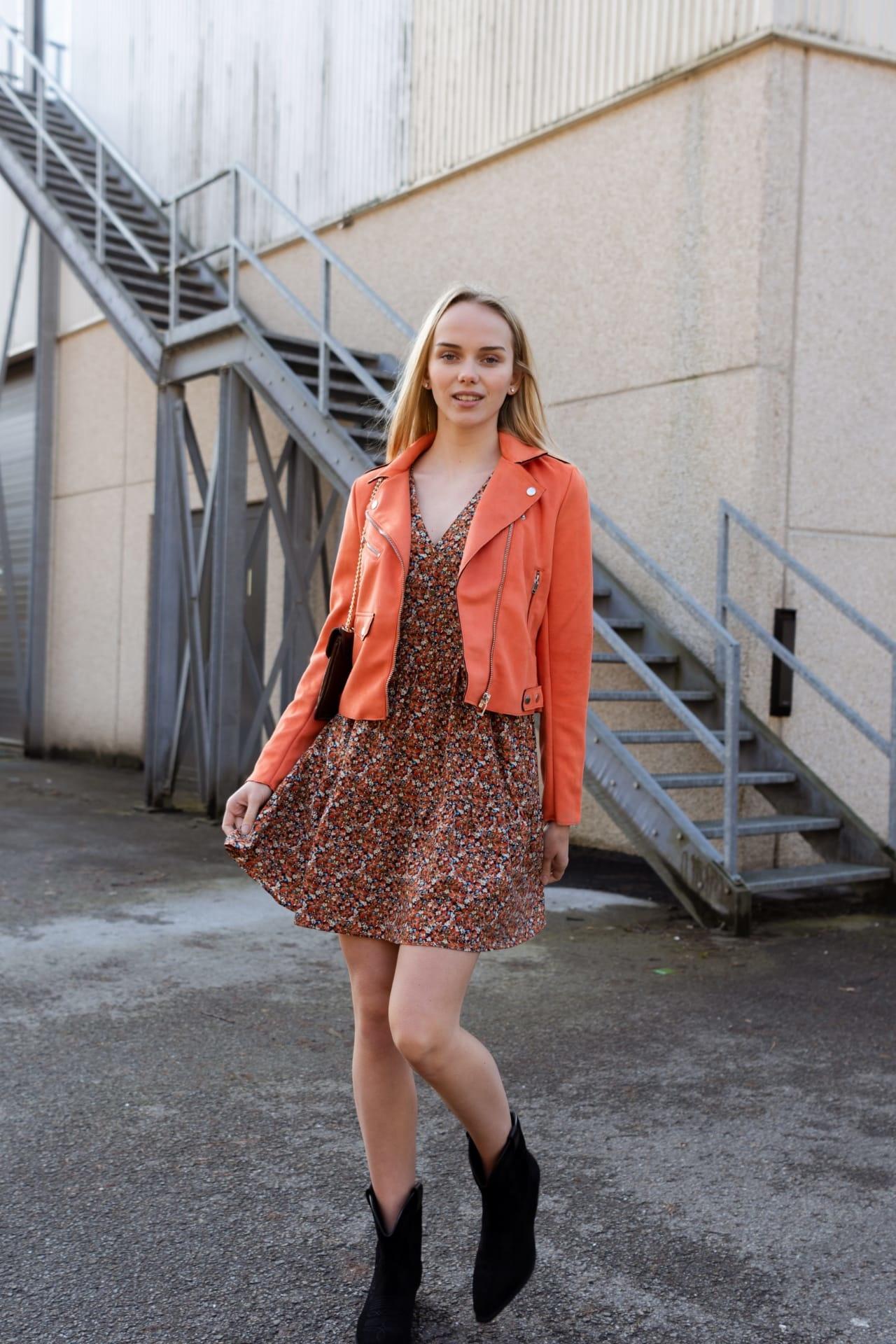 PEPITES  robe fleur orange-3