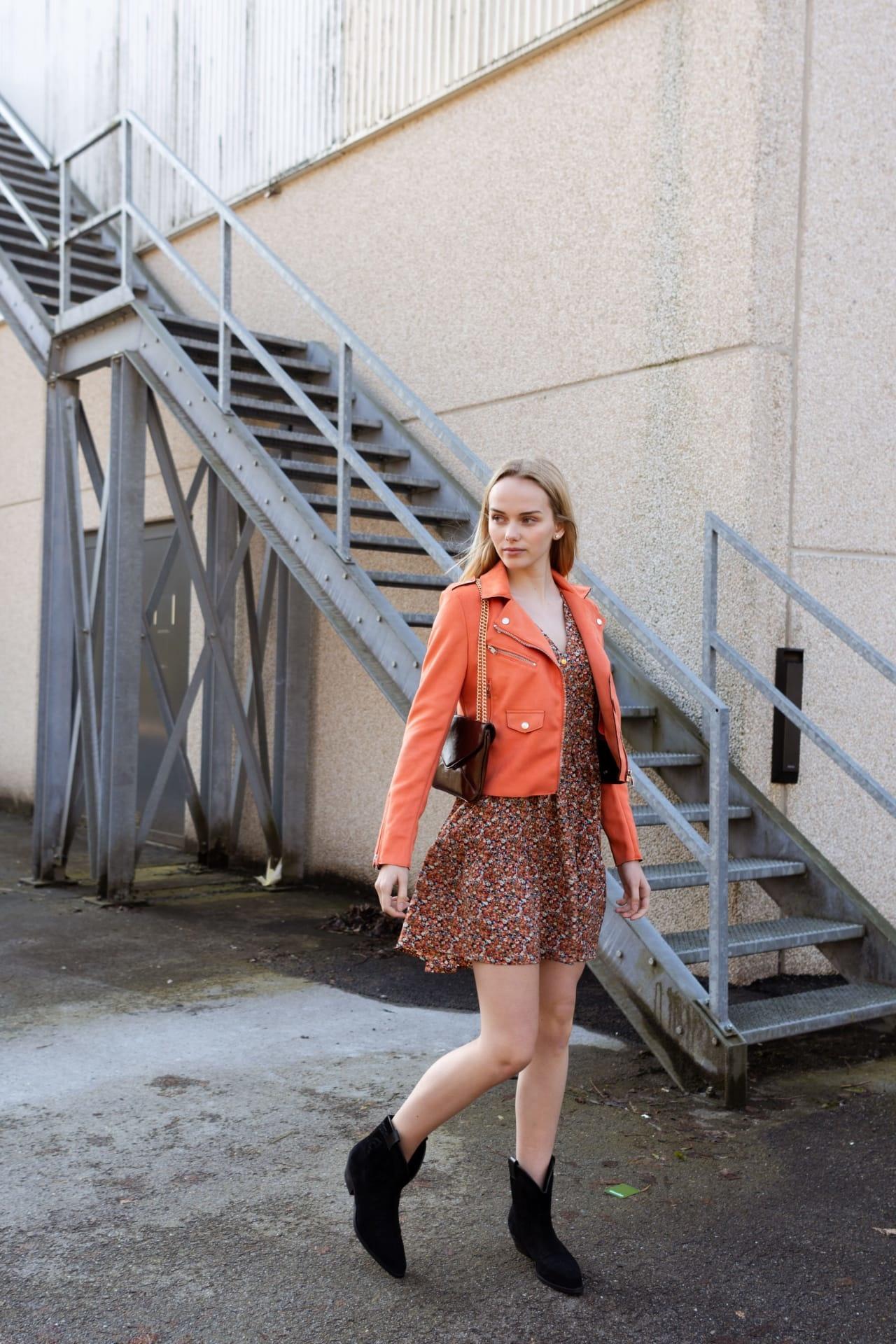 PEPITES  robe fleur orange-4
