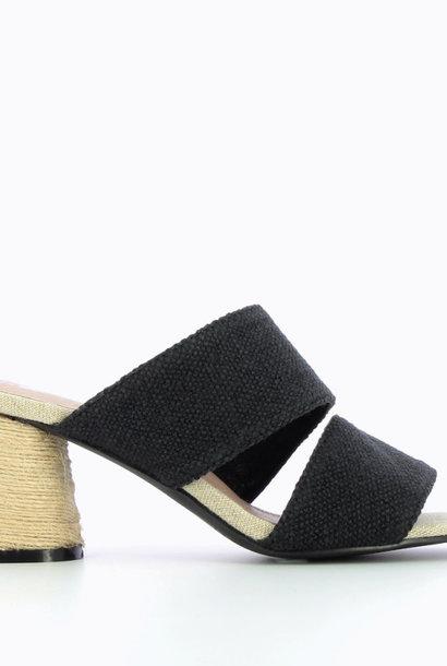 VANESSA WU mules noires effets tweed