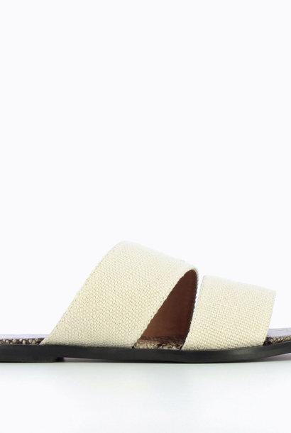 VANESSA WU mules plates crème effet tweed