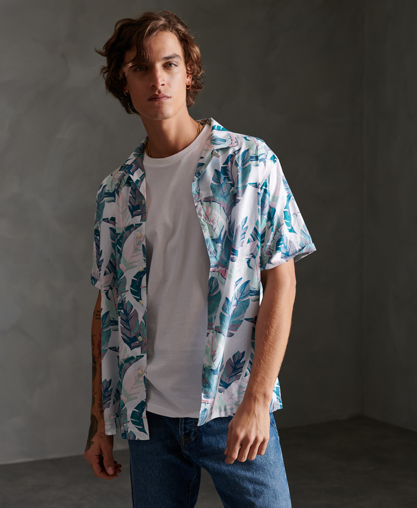 SUPERDRY chemise hawaiian leaf white-2