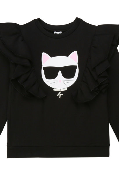 KARL LAGERFELD sweat en coton à volants