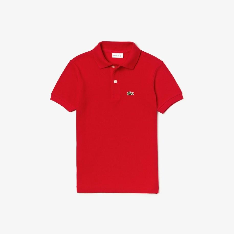 LACOSTE polo enfant en petit piqué uni rouge-1