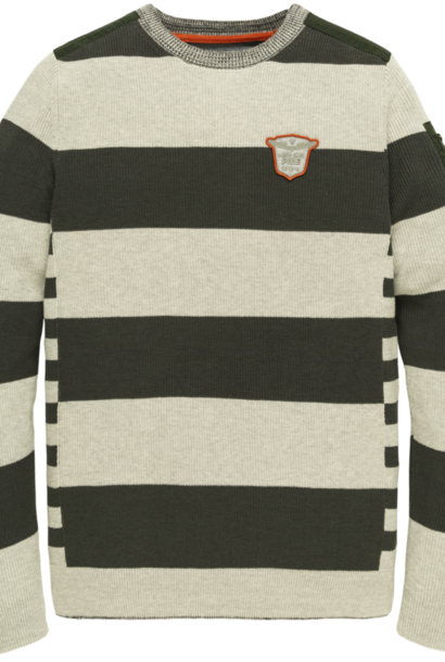 PME pull crewneck cotton stripe knit