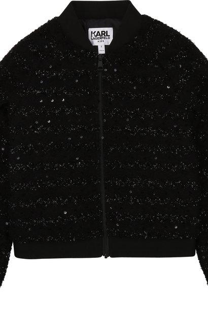 KARL LAGERFELD veste zippé tweed polyester