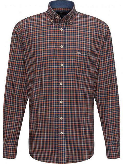 FYNCH HATTON chemise terracotta check-1