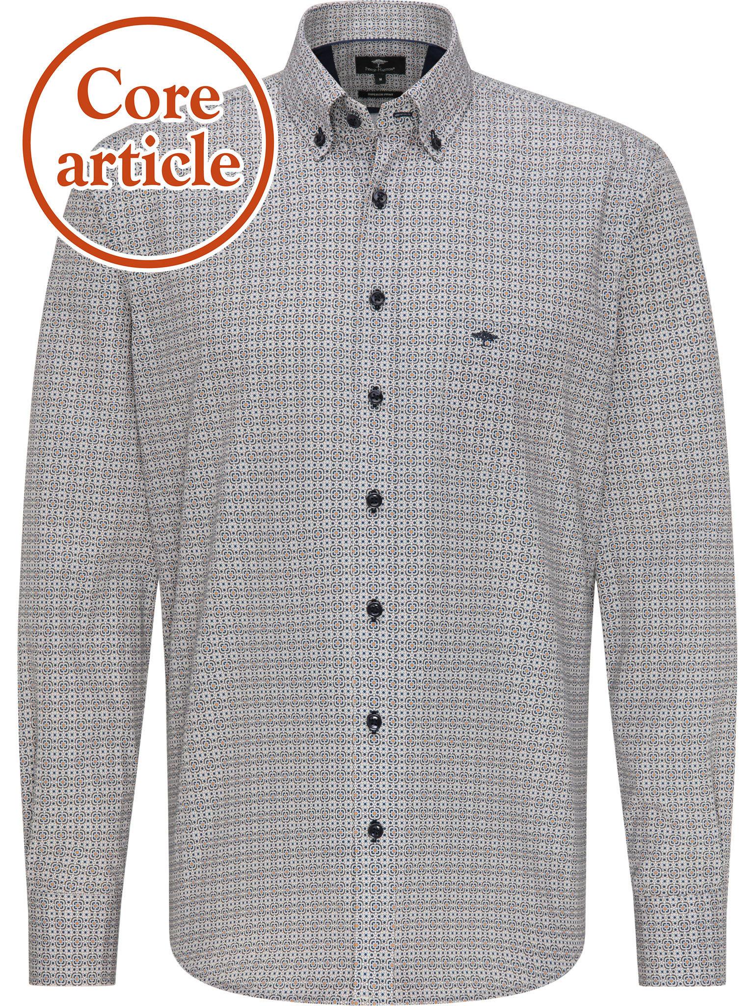 FYNCH HATTON chemise navy-mustard-1
