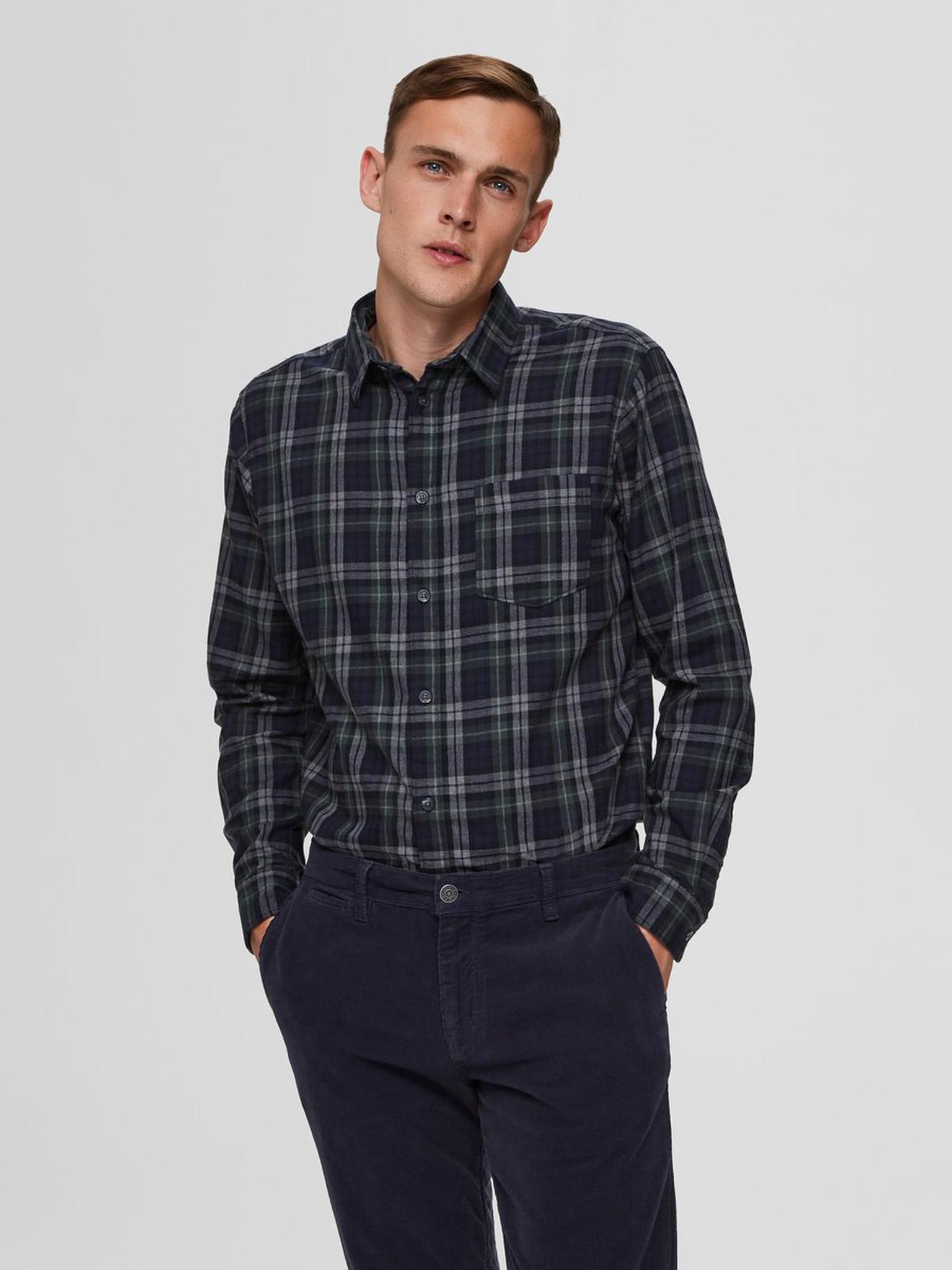 SELECTED chemise à carreaux coupe droite-1