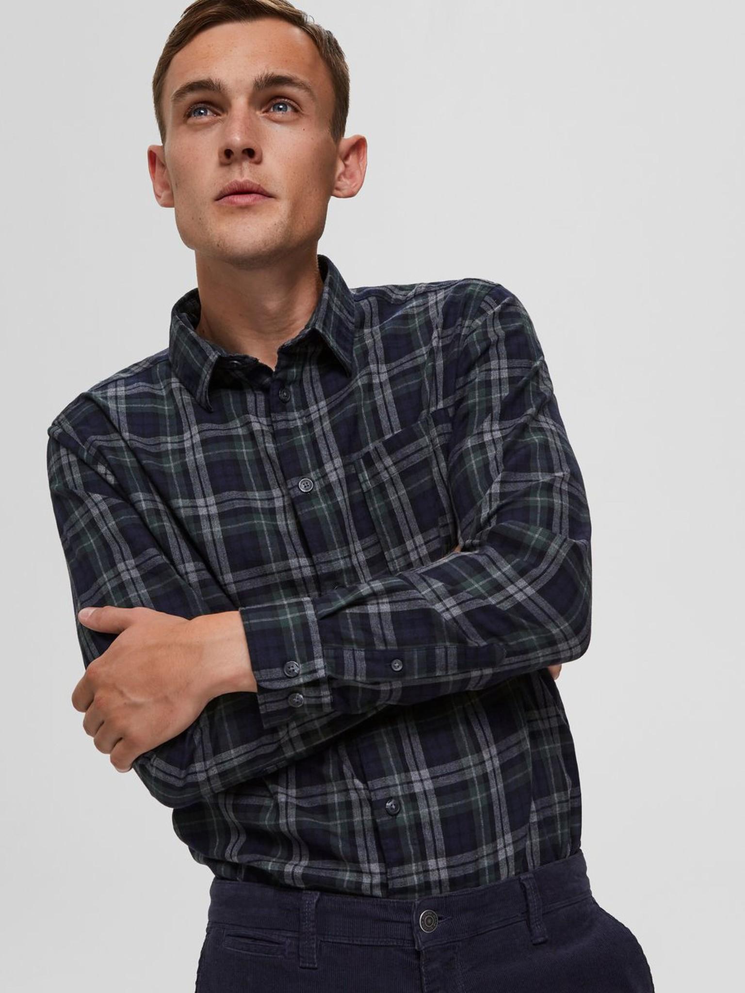 SELECTED chemise à carreaux coupe droite-4