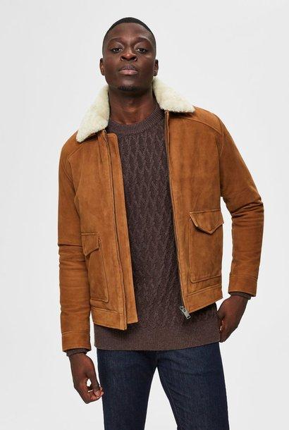 SELECTED veste en cuir peau lainée