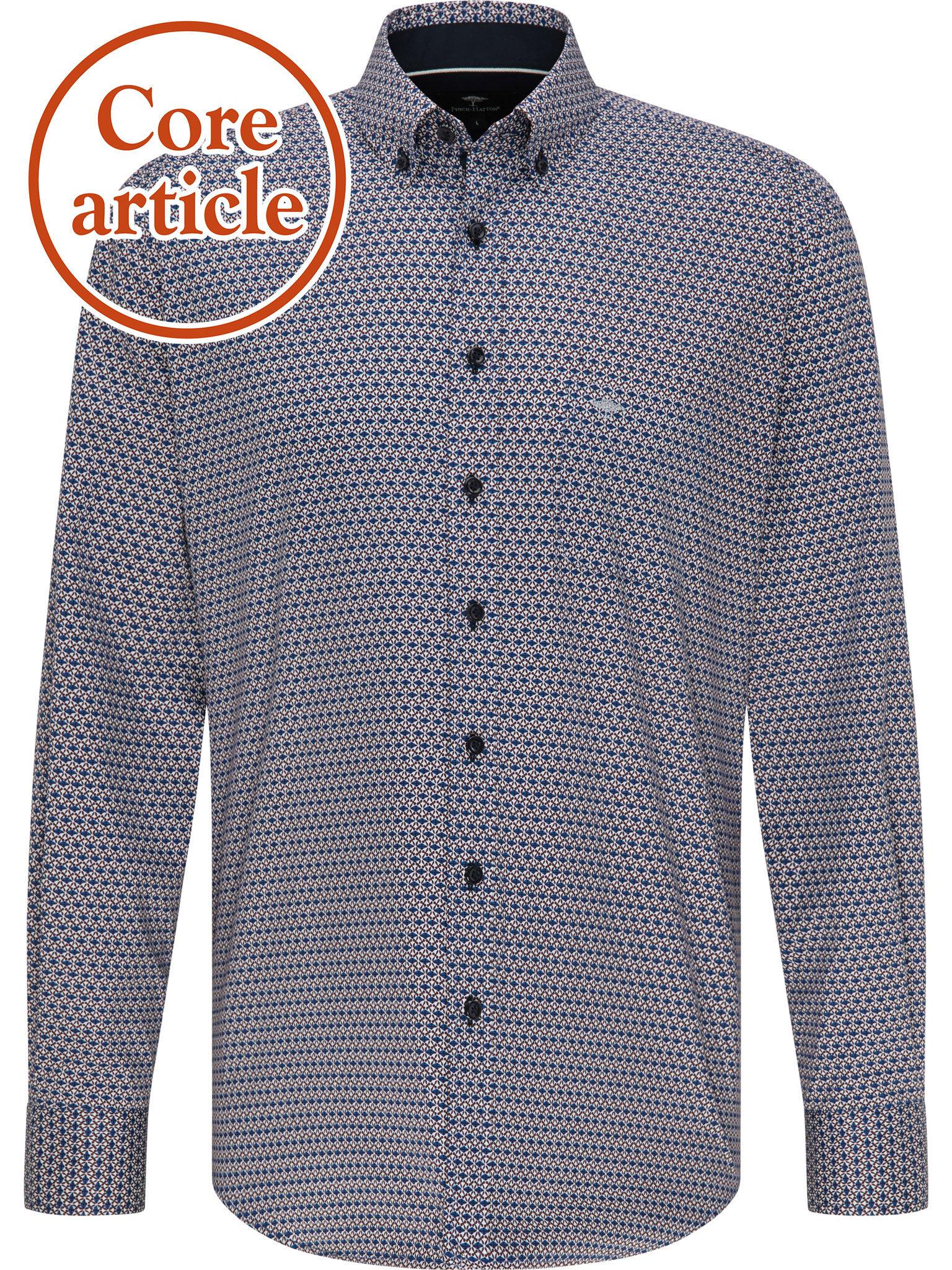 FYNCH HATTON chemise merlot blue print-1