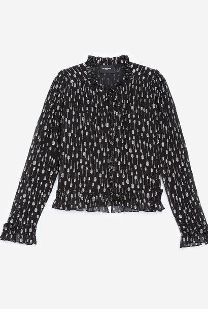 THE KOOPLES chemise habillée noire à pois argentés