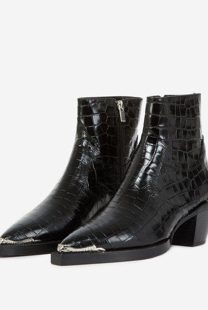 THE KOOPLES bottines noires cuir façon croco