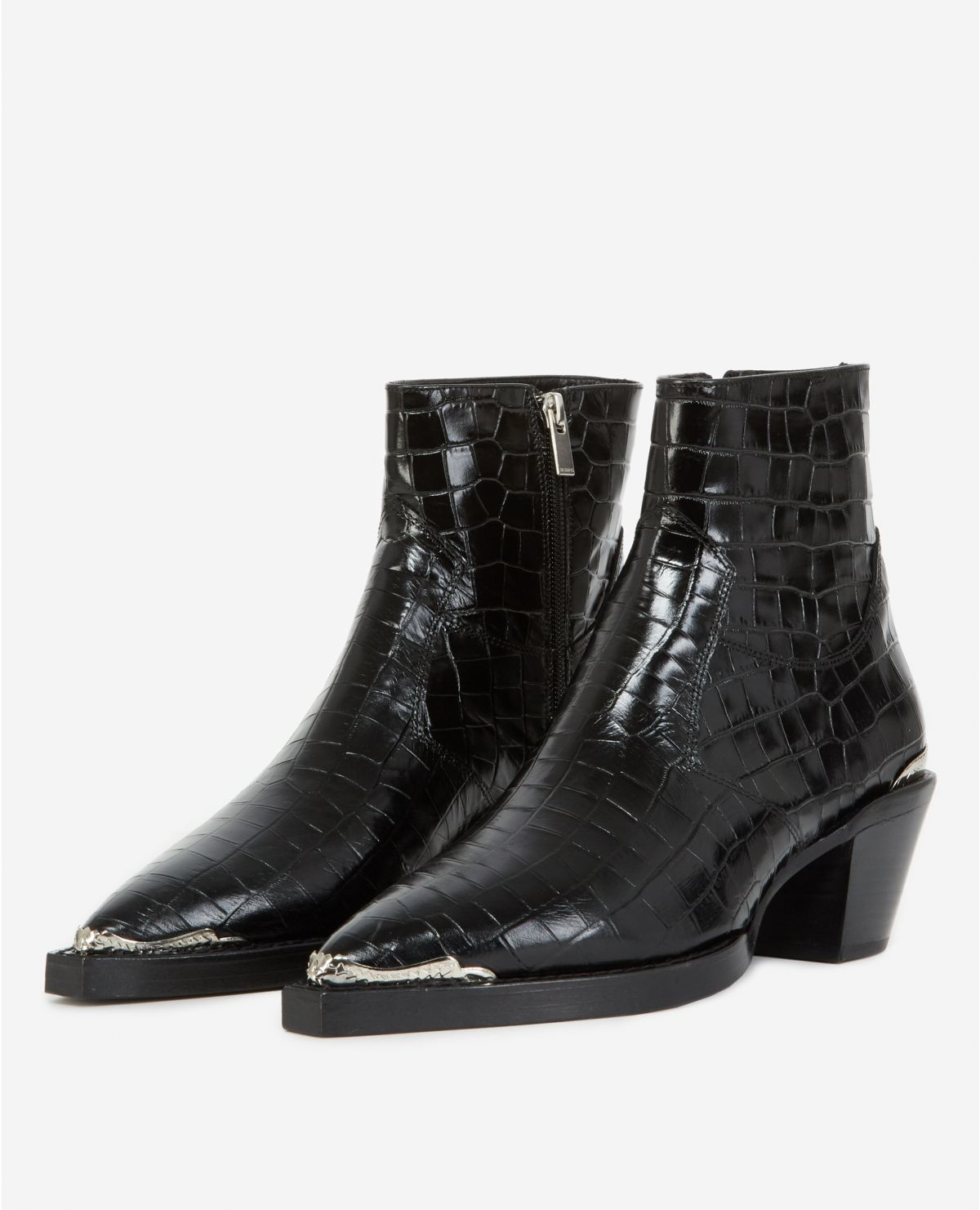 AFCHTHE KOOPLES bottines noires cuir façon croco21055K-1