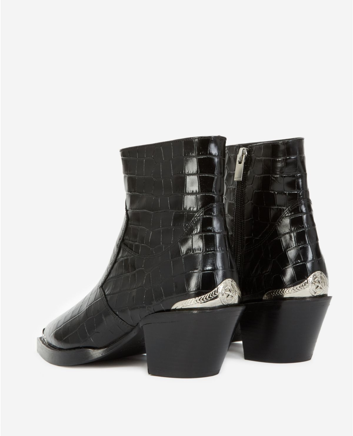 AFCHTHE KOOPLES bottines noires cuir façon croco21055K-5