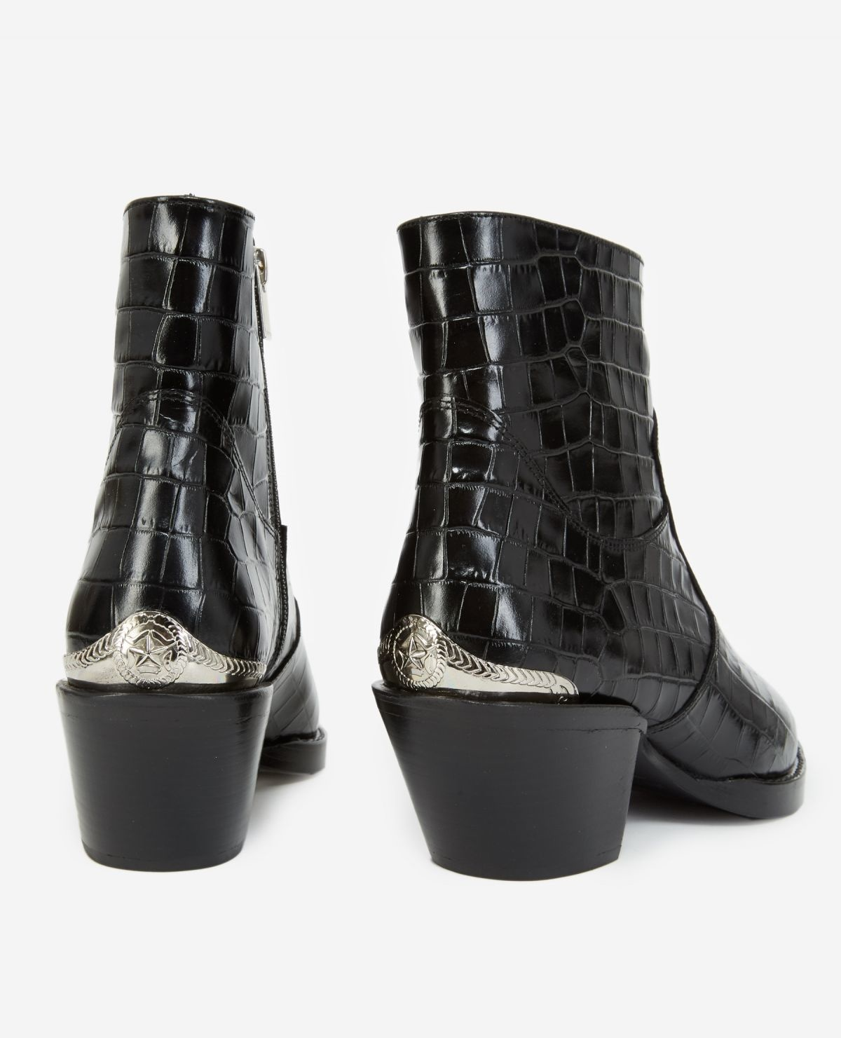 AFCHTHE KOOPLES bottines noires cuir façon croco21055K-7