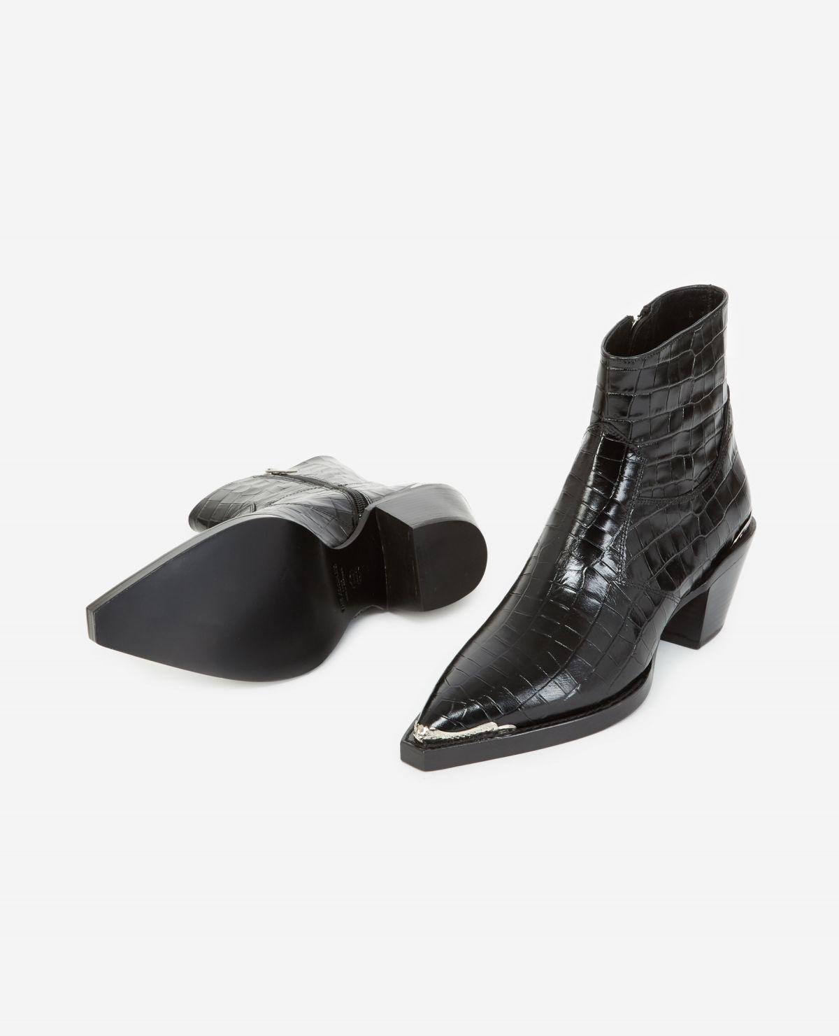 AFCHTHE KOOPLES bottines noires cuir façon croco21055K-9