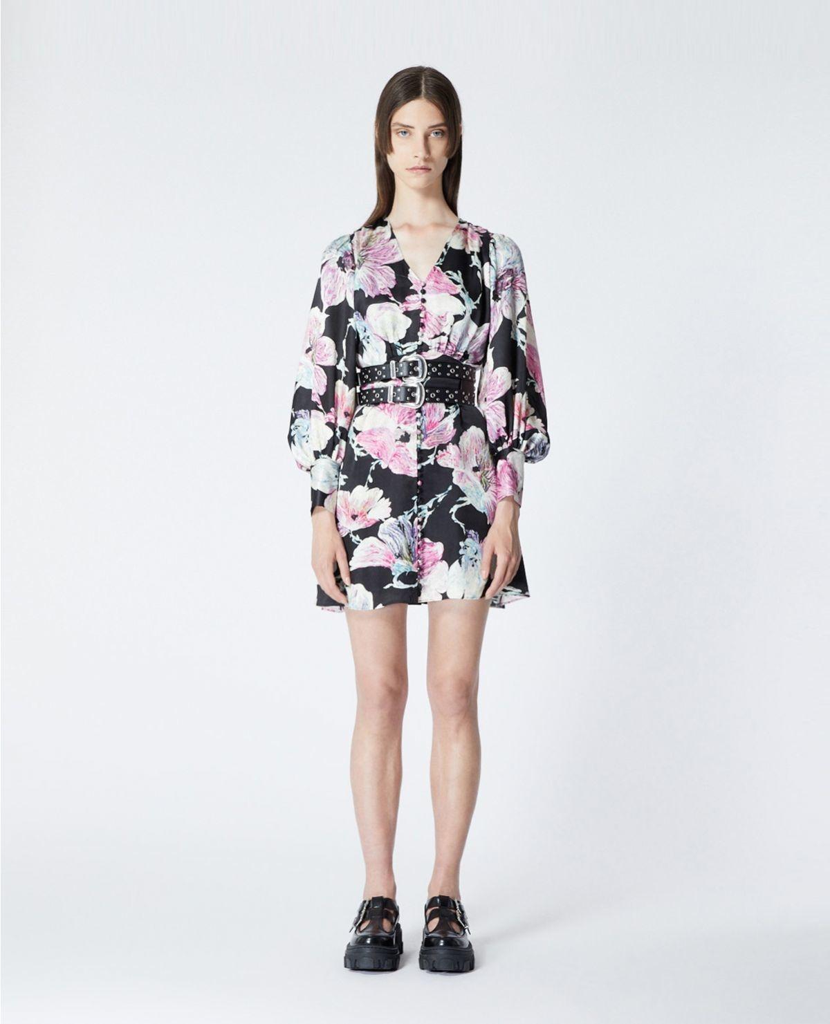 THE KOOPLES robe courte noire imprimé fleuri-2