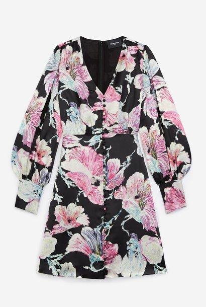 THE KOOPLES robe courte noire imprimé fleuri
