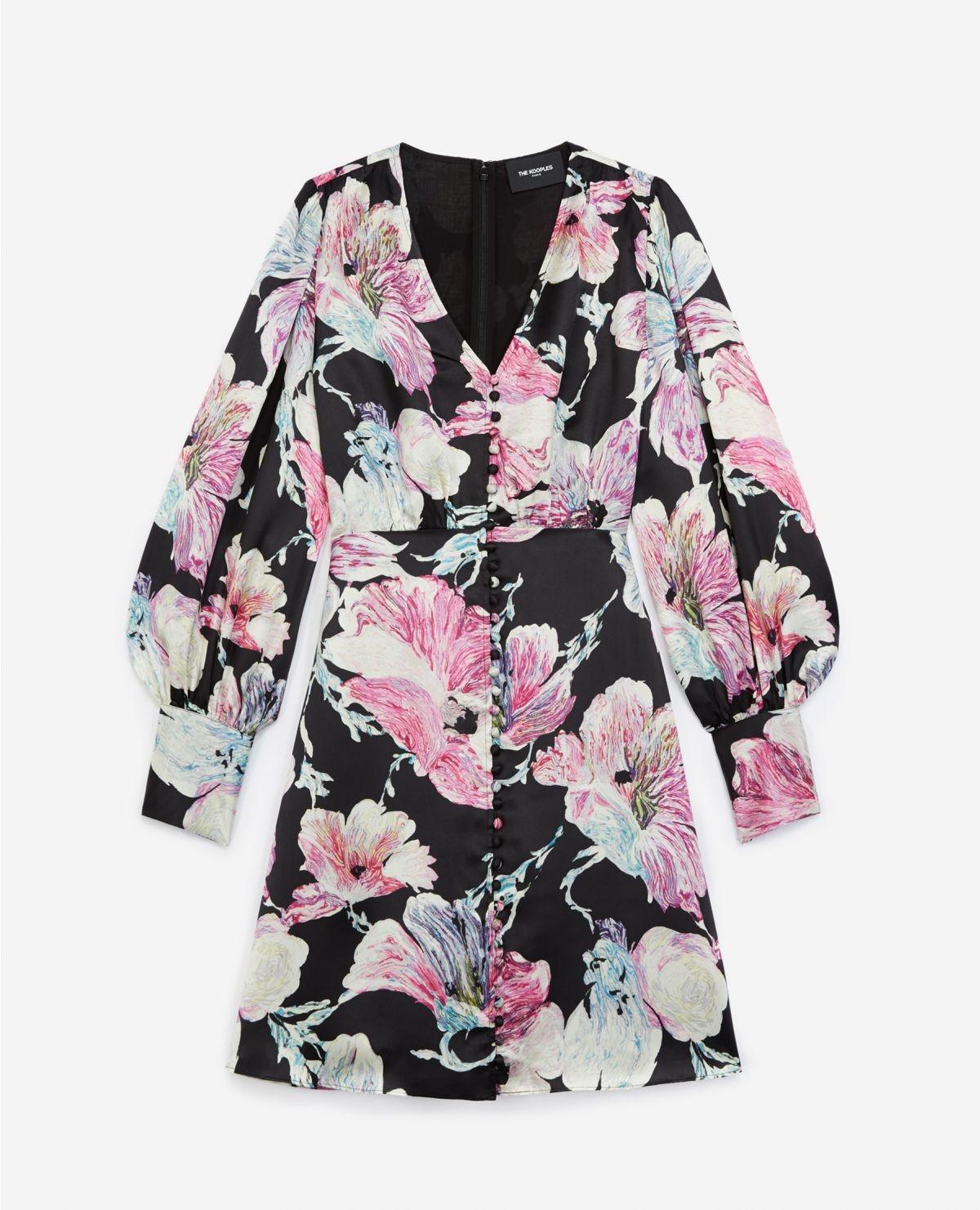 THE KOOPLES robe courte noire imprimé fleuri-1