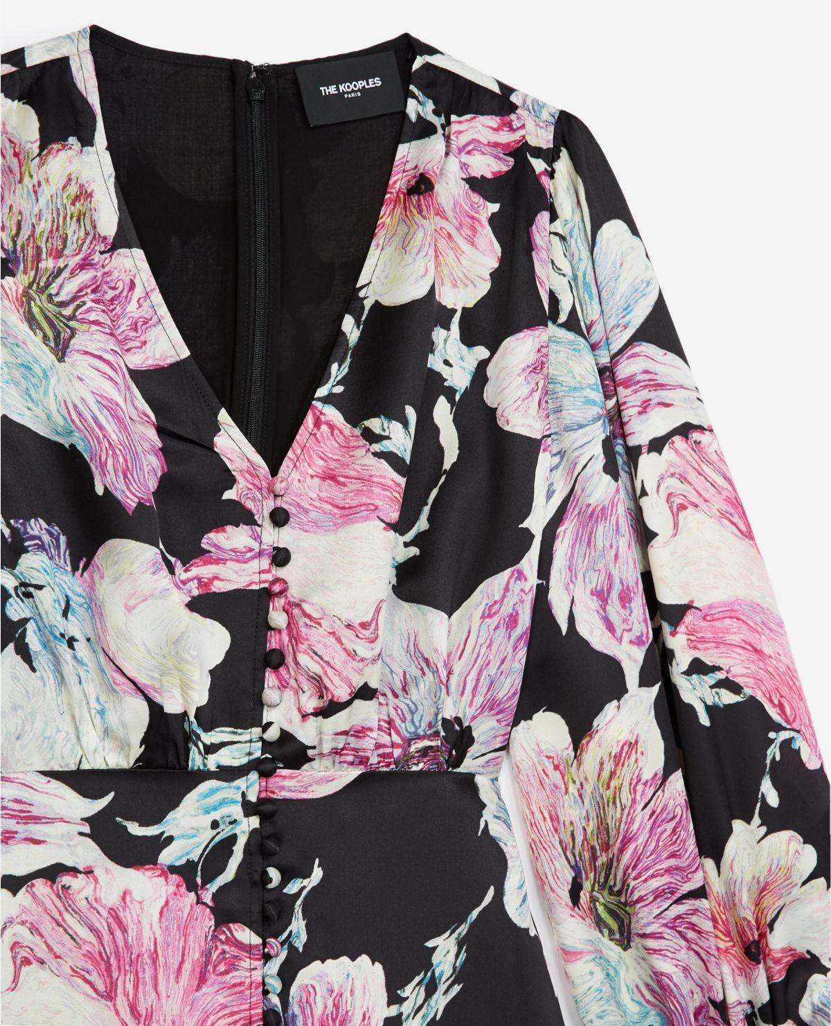 THE KOOPLES robe courte noire imprimé fleuri-3