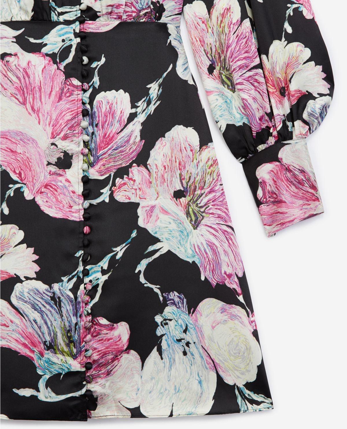 THE KOOPLES robe courte noire imprimé fleuri-4