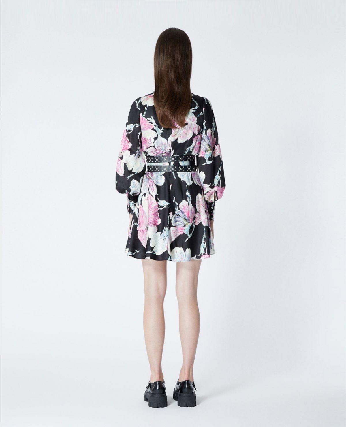 THE KOOPLES robe courte noire imprimé fleuri-5