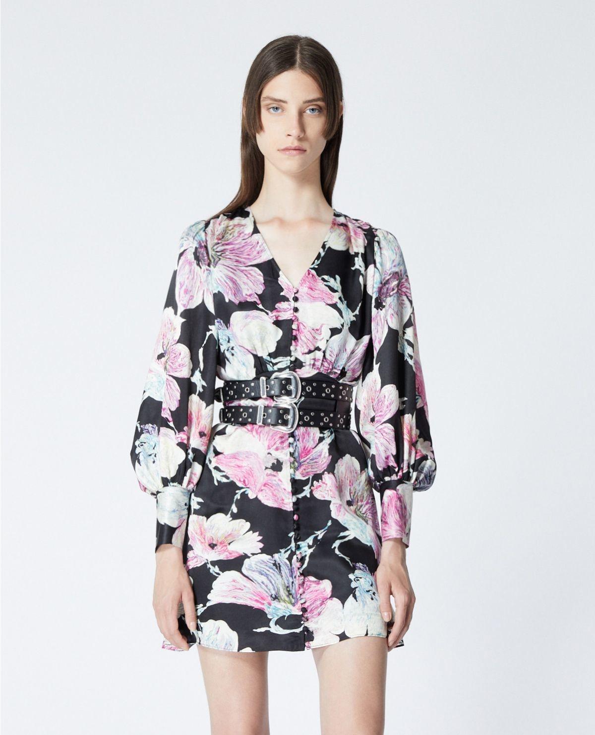 THE KOOPLES robe courte noire imprimé fleuri-6