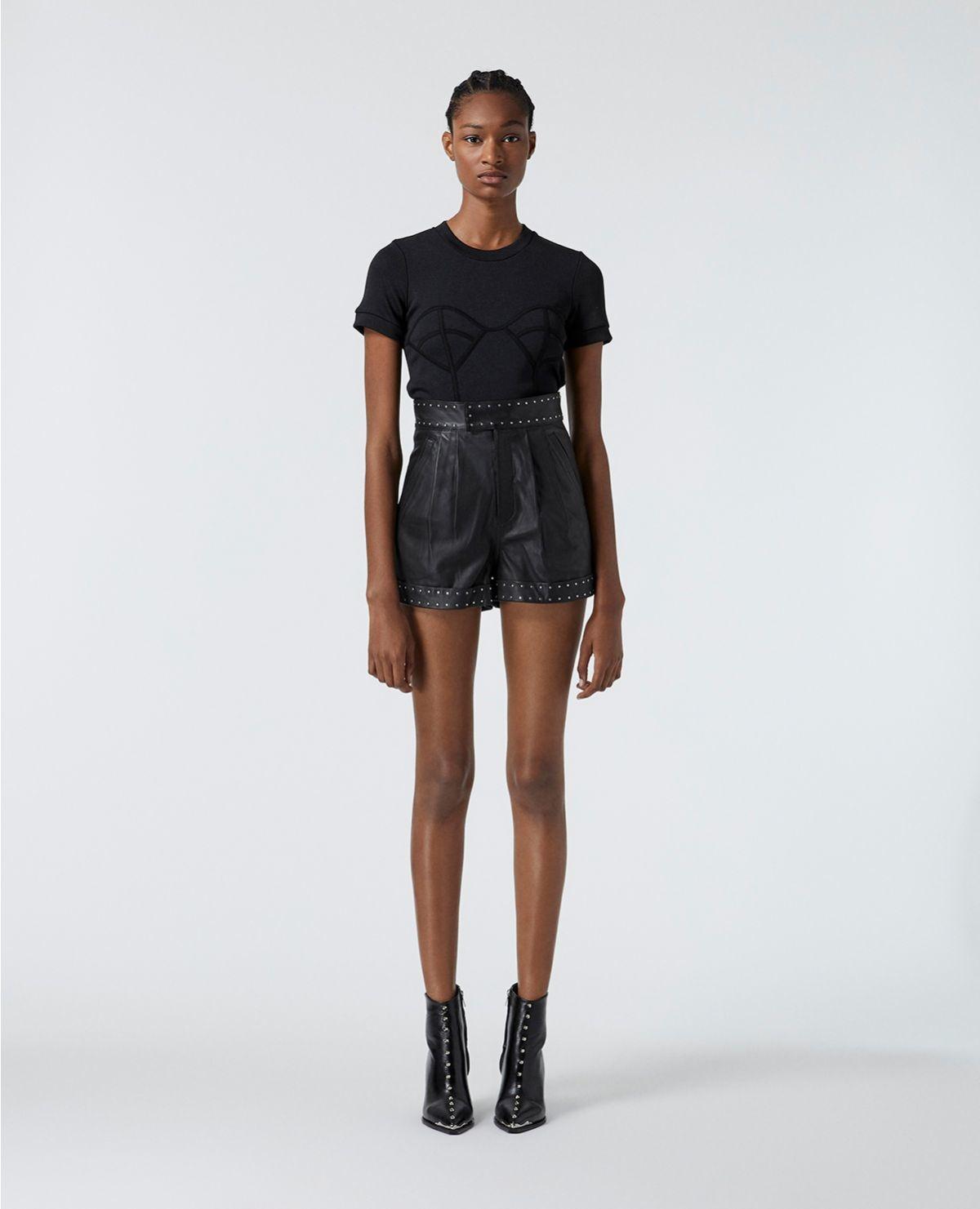 THE KOOPLES short noir cuir à ceinture cloutée-2