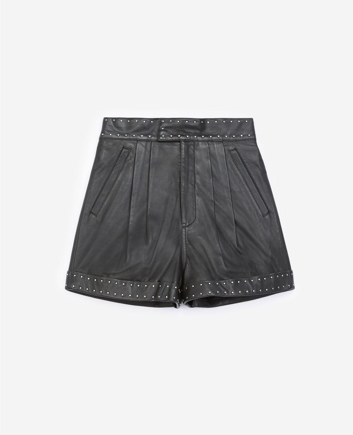 THE KOOPLES short noir cuir à ceinture cloutée-1