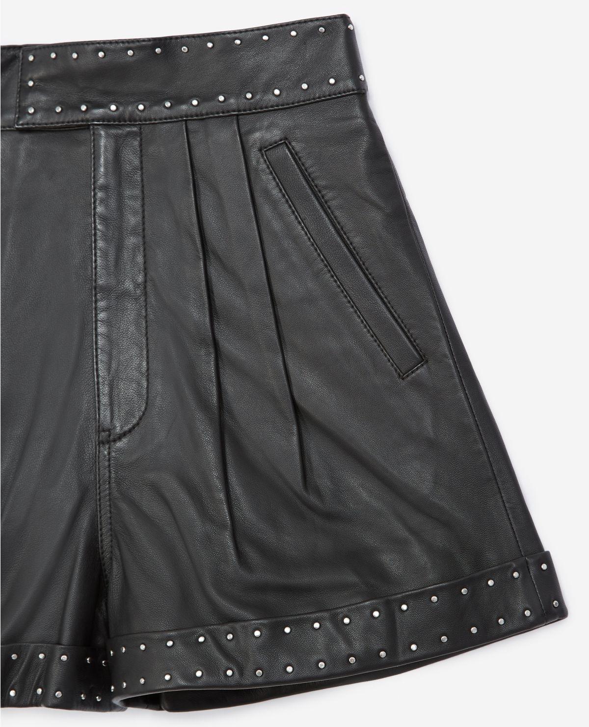 THE KOOPLES short noir cuir à ceinture cloutée-3